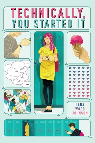 Book cover showing several text bubbles with various images including school lockers.