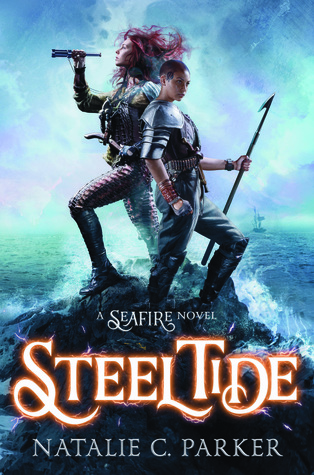 Book cover showing two warrior girls back to back on a stone in the sea.
