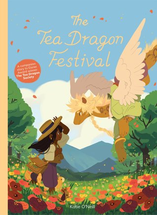 Book cover showing a kid standing in flowers greeting a tea dragon.