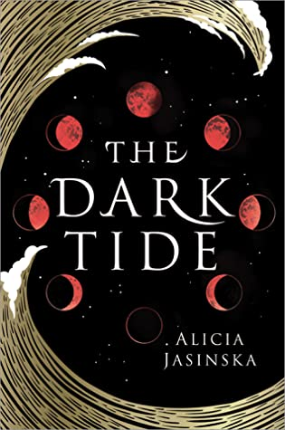 Book cover showing a big wave, and phases of the moon.