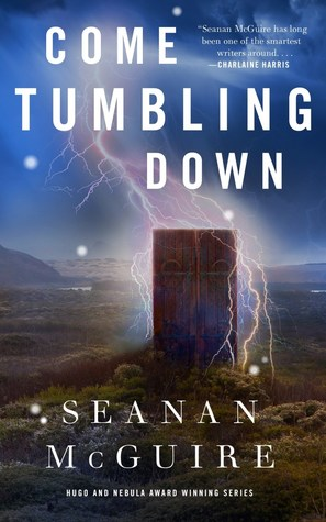 Book cover showing a door in the moors with lightning striking it.
