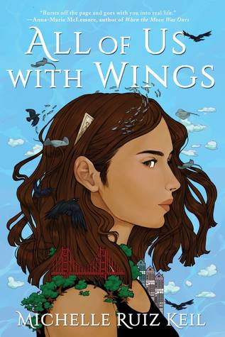 Book cover showing girls with birds hovering around her and cityscapes.