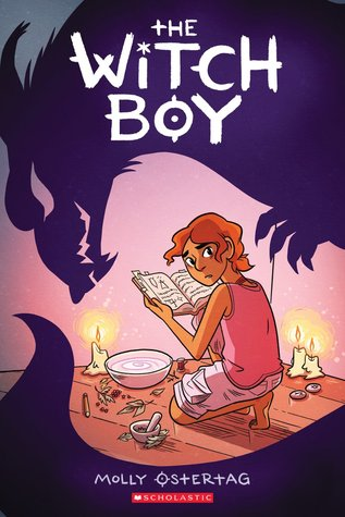 Book cover showing a kneeling figure making a potion by candlelight.