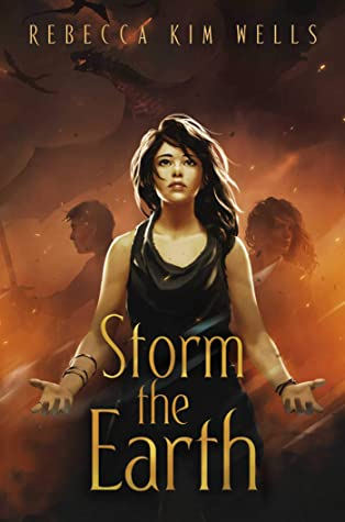 Book cover showing a girl with outstretched hands, with two other characters and dragons behind.