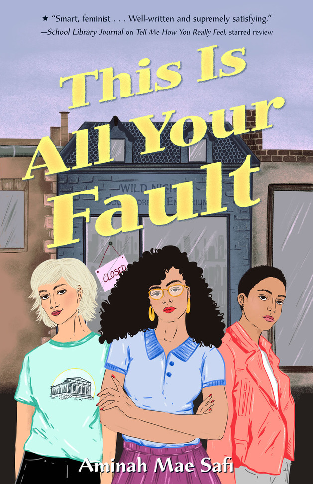 Book cover showing 3 characters in front of a store.