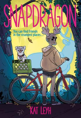 Book cover showing a girl with her bicycle and a dog in the basket.