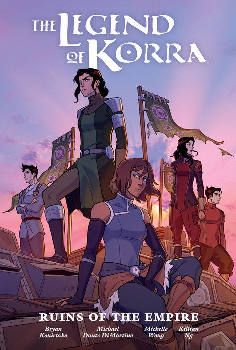 Book cover showing five characters in warrior garb, with banners.