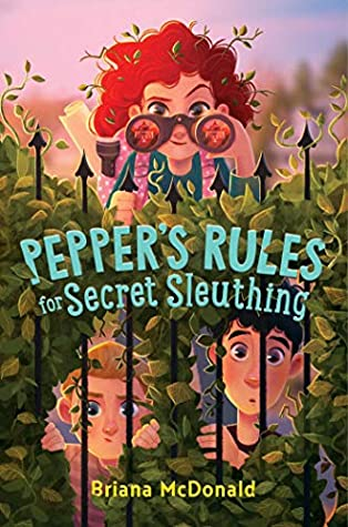 Book cover showing a girl with binoculars and two characters peering through a hedge.