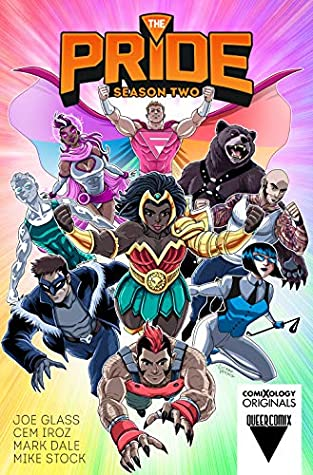 Book cover showing a group of superheroes.
