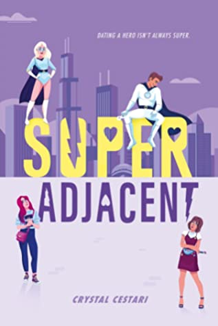 Book cover showing four characters, two in superhero garb.