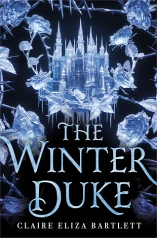 Book cover showing an ice castle and ice roses.