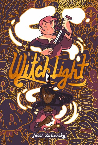 Book cover showing two drawn characters, one with a sword, one casting a spell.