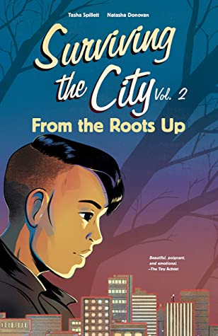 Book cover showing character with partially shaved head, city skyline in the background.