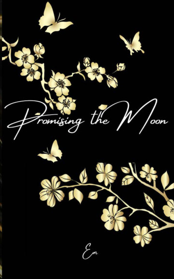 Book cover showing shite flowers and butterfly on black background.
