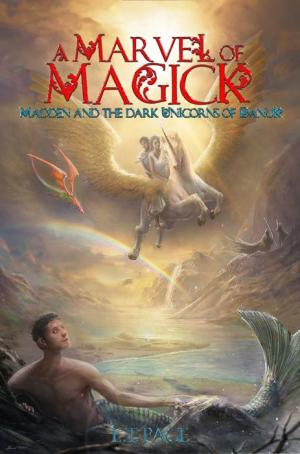Book cover showing a unicorn with two people on its back, and a merman looking skyward.